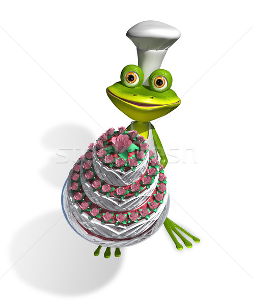frog chef with cake Stock photo © brux