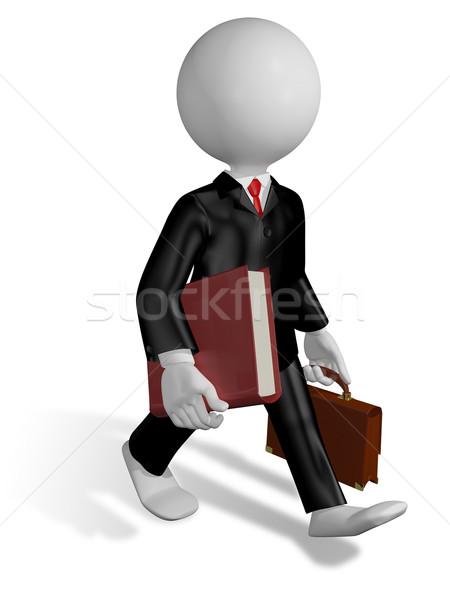 Läuft Rechtsanwalt abstrakten Illustration Buch Geschäftsmann Stock foto © brux