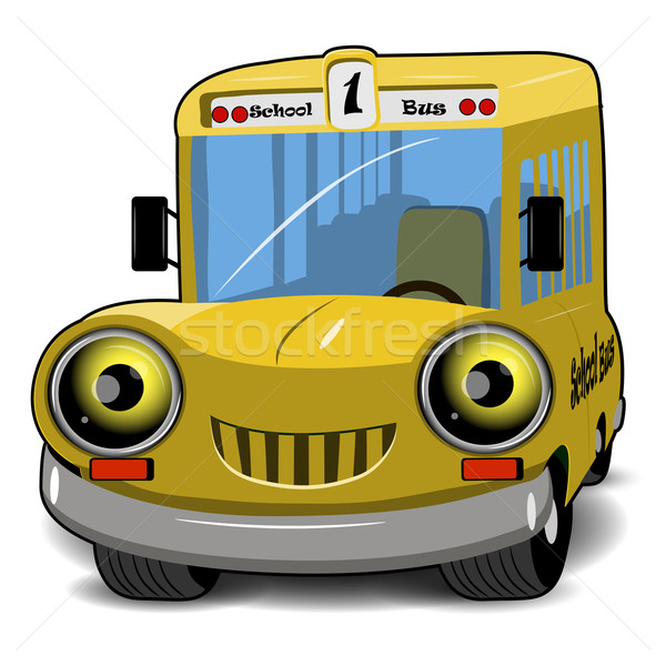 Schoolbus illustratie cartoon vrolijk Geel glimlach Stockfoto © brux