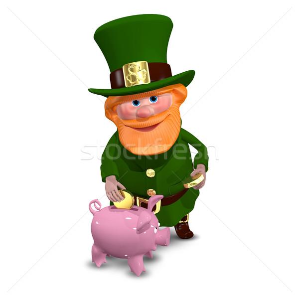3d иллюстрации святой Piggy Bank костюм клевера белый Сток-фото © brux