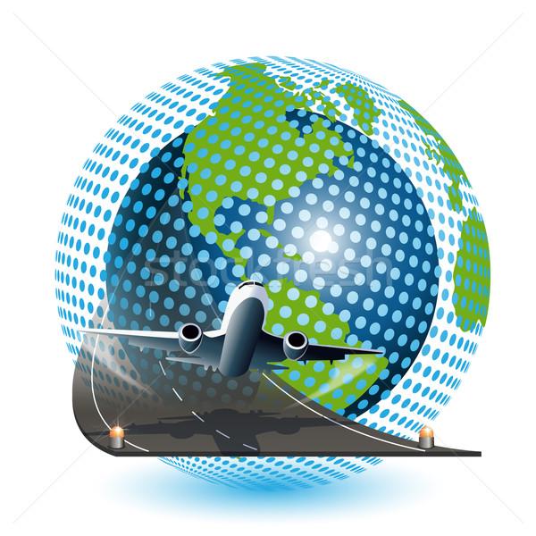 Aviación ilustración avión azul mundo blanco Foto stock © brux