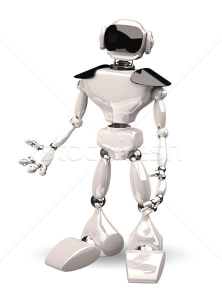 Robot beyaz 3d illustration teknoloji Metal bilim Stok fotoğraf © brux
