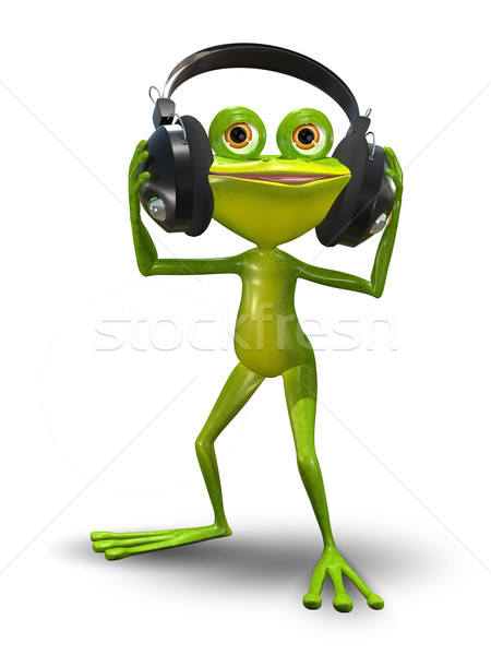 Frog with Headphones Stock photo © brux