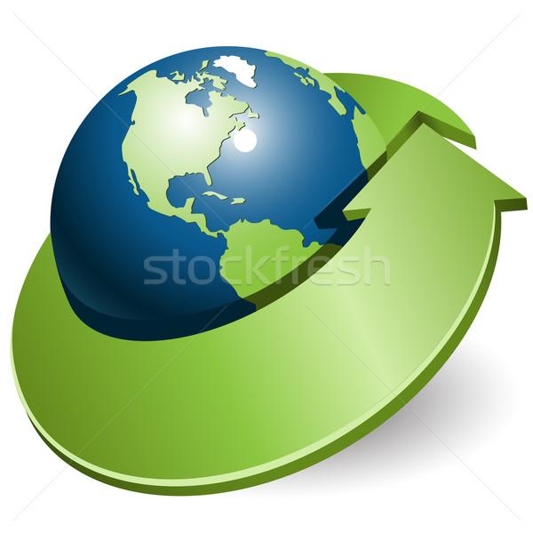Globe and green arrow Stock photo © brux