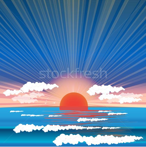 Deniz gün batımı örnek salgın gökyüzü güneş Stok fotoğraf © brux