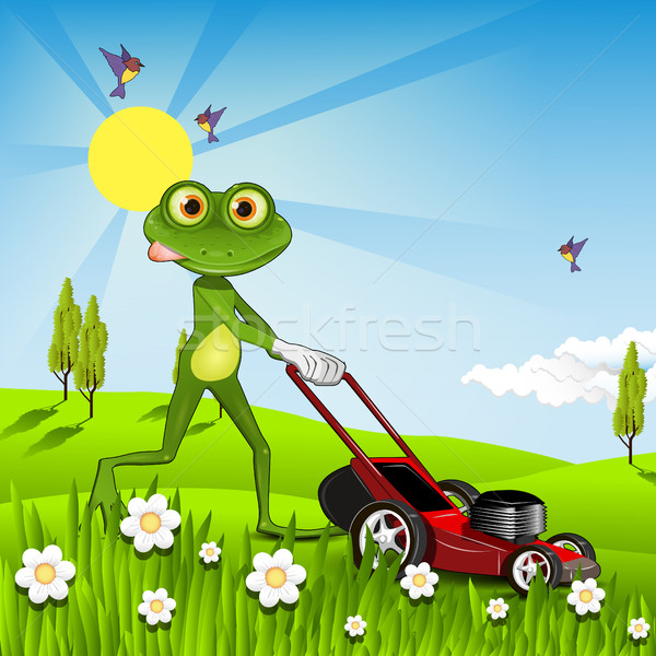 Stock photo: Frog mows the lawn