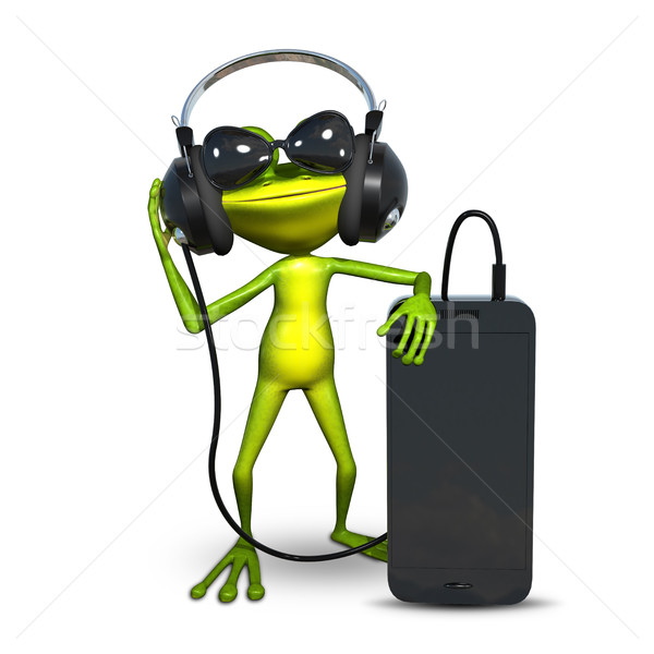3D Illustration of a Frog with Headphones with Smartphone Stock photo © brux