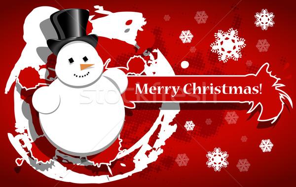 Рождества снеговик иллюстрация красный зима звездой Сток-фото © brux