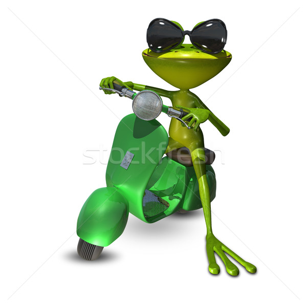 3D Illustration of a frog on a motor scooter Stock photo © brux