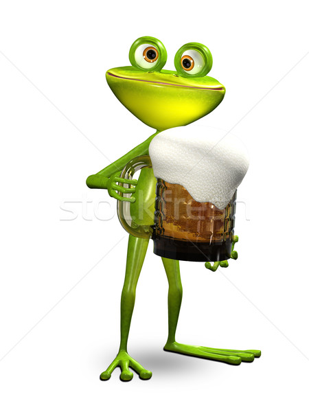 3D Illustration Frog with a Glass of Beer Stock photo © brux
