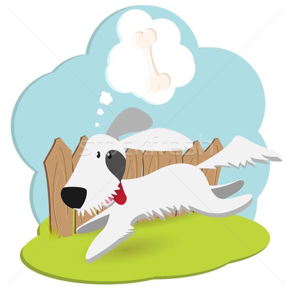 собака иллюстрация забор мысли запустить белый Сток-фото © brux
