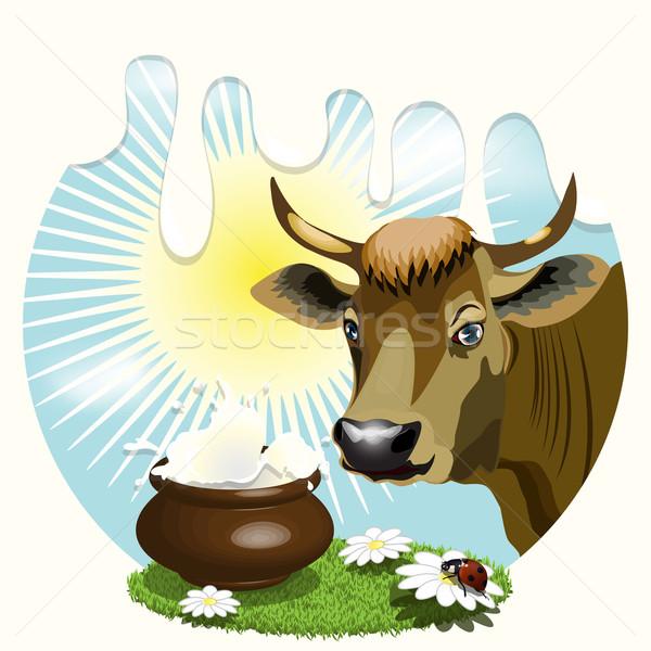 牛 実例 林間の空き地 太陽 ドリンク ミルク ストックフォト © brux