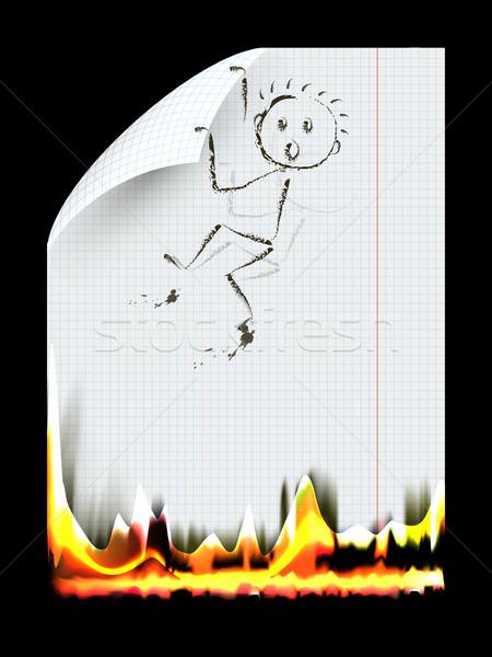 Ardente peça papel abstrato ilustração homem Foto stock © brux