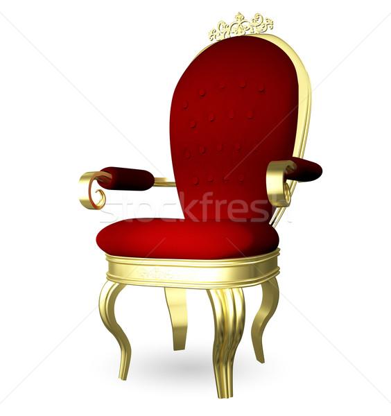 Troon 3d illustration Rood goud stoel meubels Stockfoto © brux