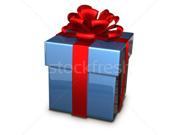 gift box blue Stock photo © brux