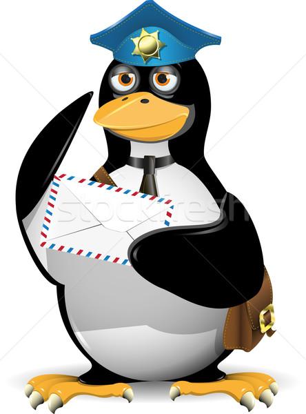 Pinguin postbode brief vogel mail zak Stockfoto © brux