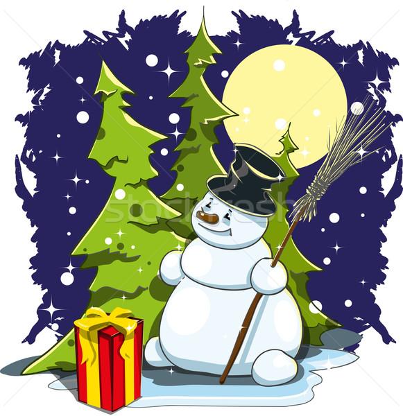 Vidám hóember illusztráció ajándék éjszakai ég tél Stock fotó © brux