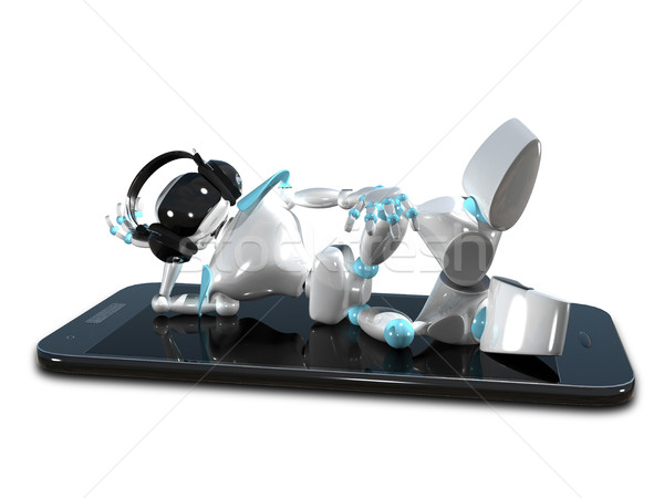 3D Illustration of a Robot in the Earpiece on Smartphone Stock photo © brux
