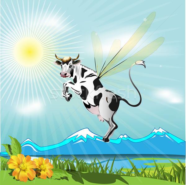 корова иллюстрация Flying горные небе пейзаж Сток-фото © brux