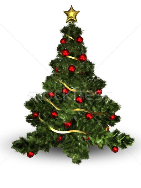 Karácsonyfa illusztráció színes golyók zöld tél Stock fotó © brux
