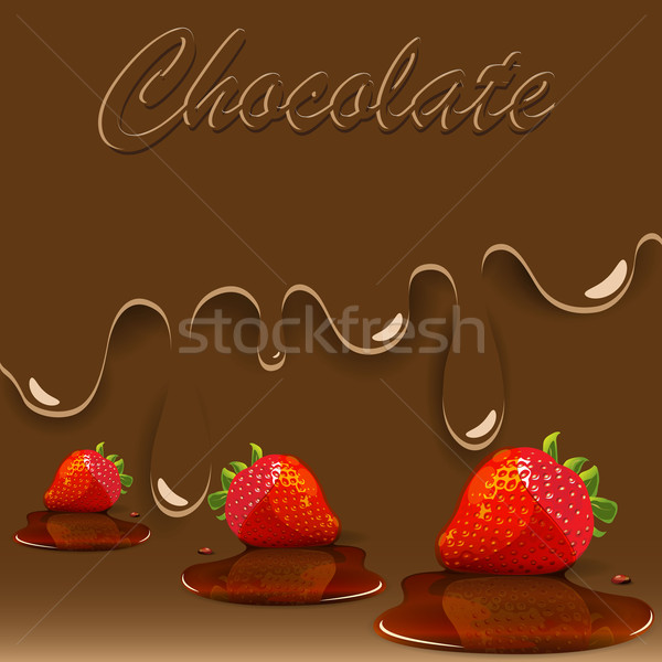 Stock photo: chocolate, strawberry and caramel