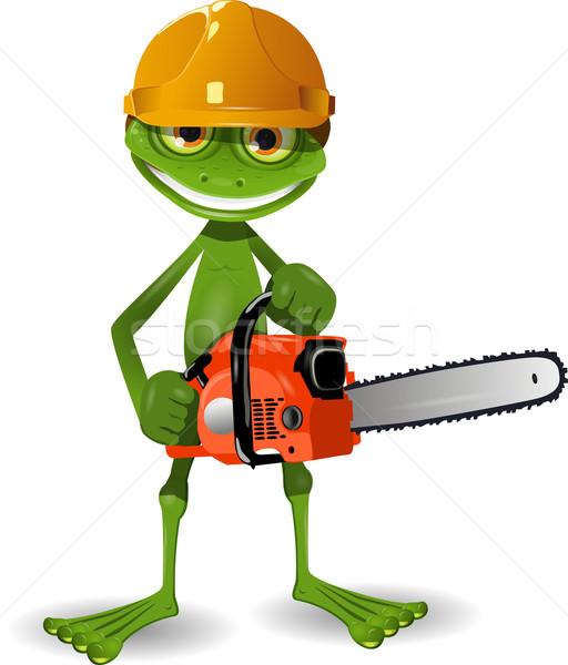 Kikker kettingzaag groene helm dier motor Stockfoto © brux