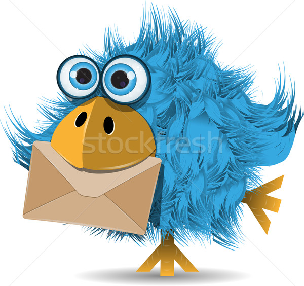funny  blue bird with envelope Stock photo © brux