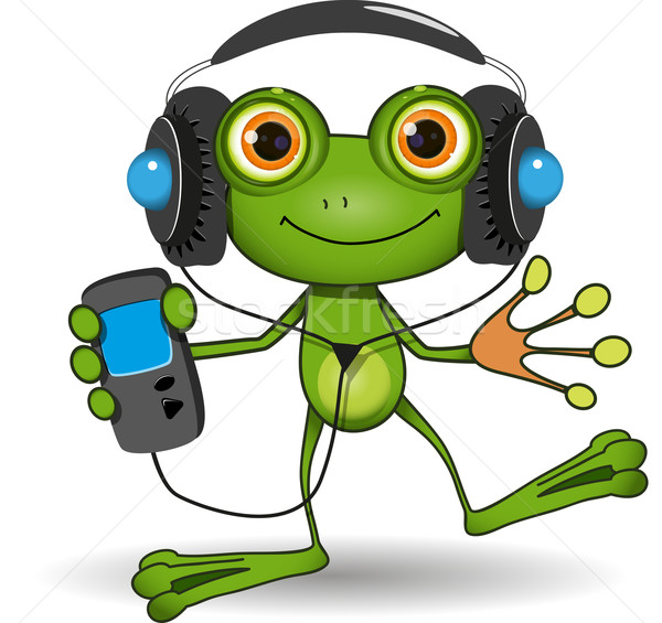 Frog in Headphones Stock photo © brux