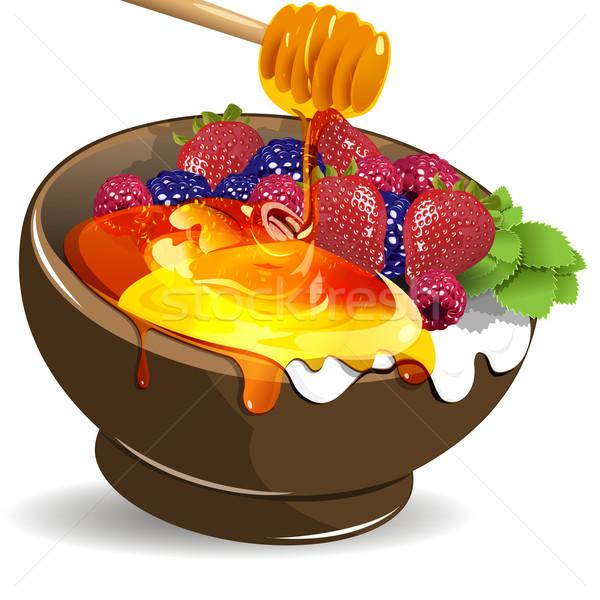 Berries yogurt and honey Stock photo © brux