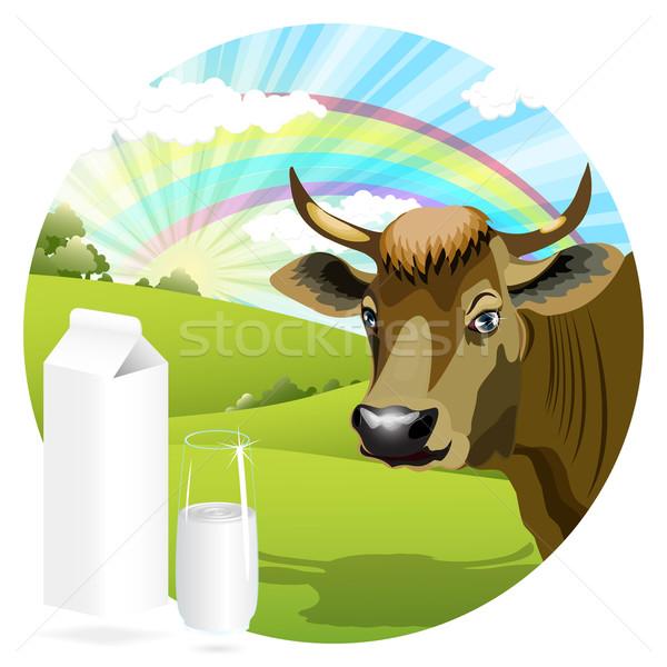 Mucca illustrazione pacchetto latte vetro panorama Foto d'archivio © brux