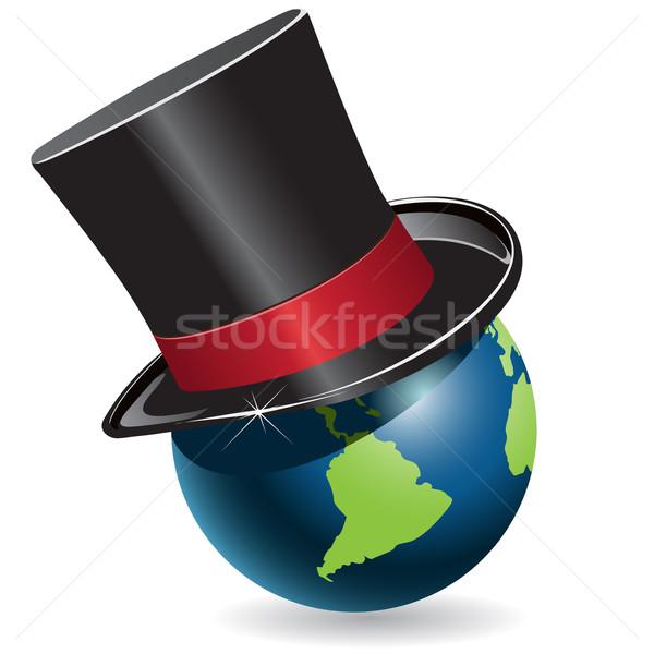 świecie cylinder ilustracja niebieski czarny hat Zdjęcia stock © brux