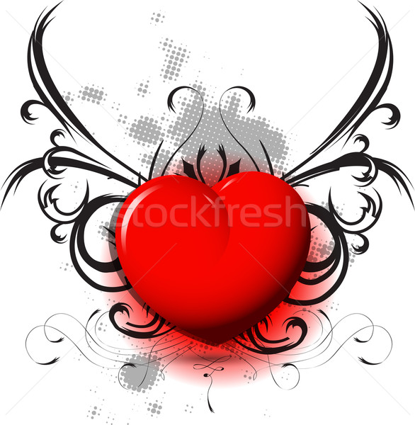 red heart on black pattern Stock photo © brux