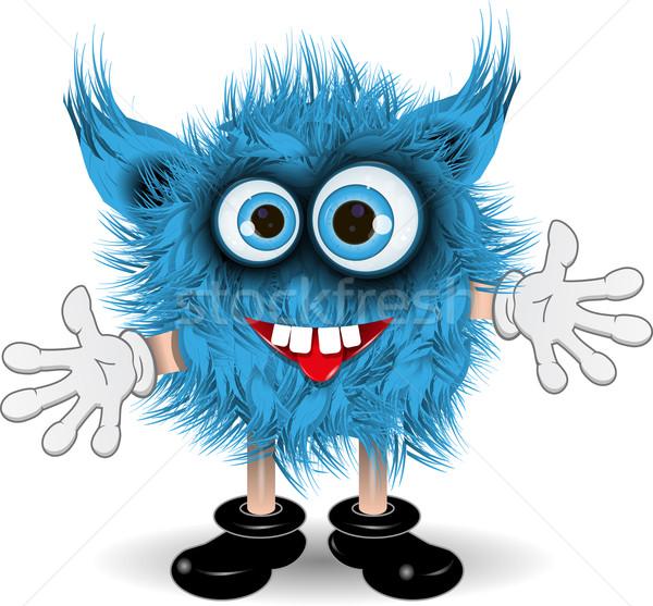 Kék szörny illusztráció tündér kócos kék szemek Stock fotó © brux