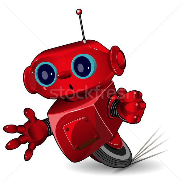 Red robot speed in a bend Stock photo © brux