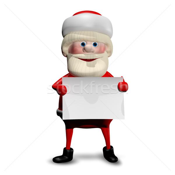 3d иллюстрации веселый Дед Мороз белый бумаги улыбка Сток-фото © brux