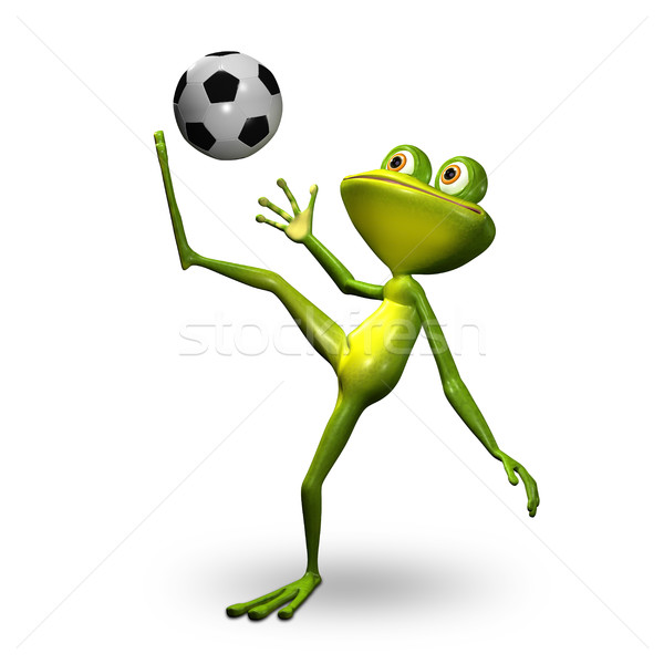 3d Illustration Frog with Ball Stock photo © brux