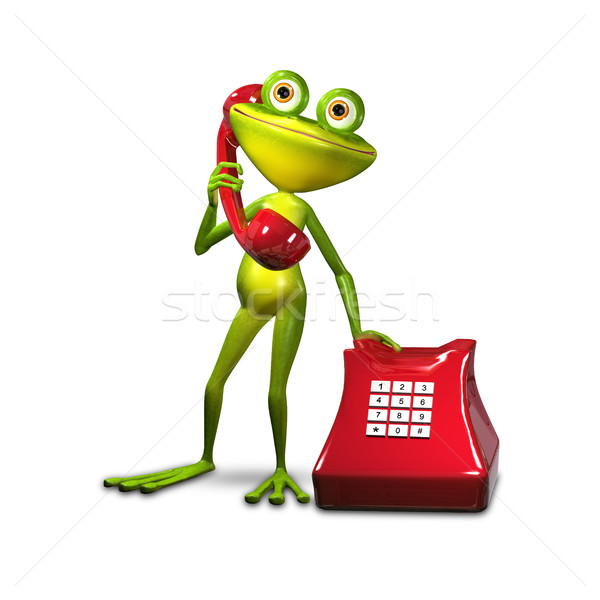 3d Illustration Frog with Red Phone Stock photo © brux