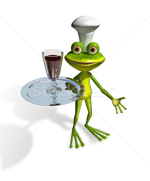 frog with a glass of wine on a tray Stock photo © brux