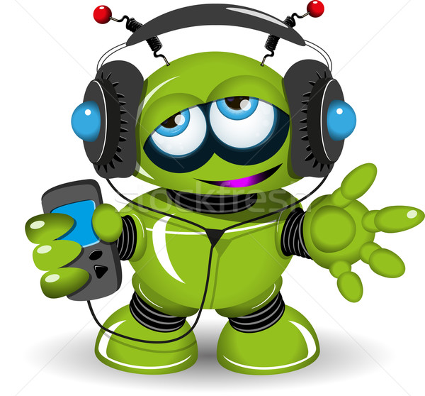 Robot müzik örnek yeşil dinlemek Stok fotoğraf © brux