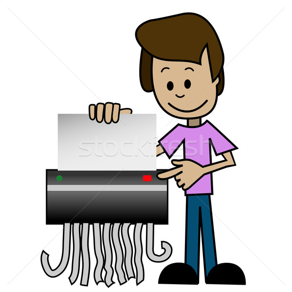 Shredder illustratie cartoon man kantoor papier Stockfoto © brux