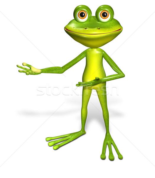 Vert grenouille 3d illustration joyeux grands yeux sourire Photo stock © brux