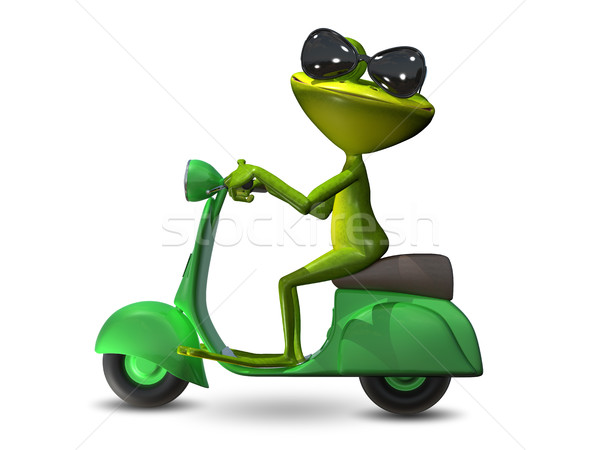 3D Illustration green frog on a motor scooter Stock photo © brux