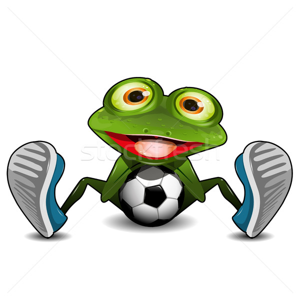 Frog Sitting with a Soccer Ball Stock photo © brux