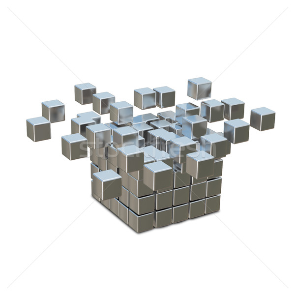 3d иллюстрации металл куб уничтожения технологий графика Сток-фото © brux