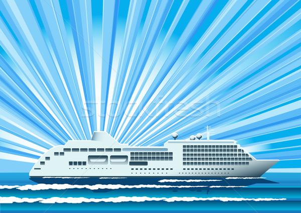 Nave illustrazione bianco girare blu mare Foto d'archivio © brux