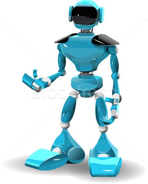 пластиковых робота иллюстрация синий белый компьютер Сток-фото © brux