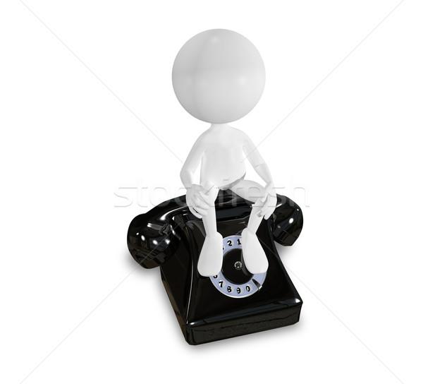 Zdjęcia stock: Biały · człowiek · czarny · telefon · streszczenie · ilustracja · telefonu