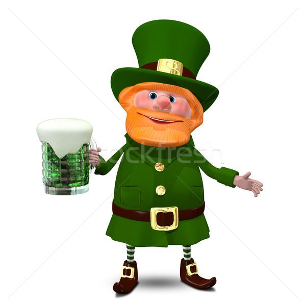 3d illusztráció szent sör zöld lóhere csésze Stock fotó © brux