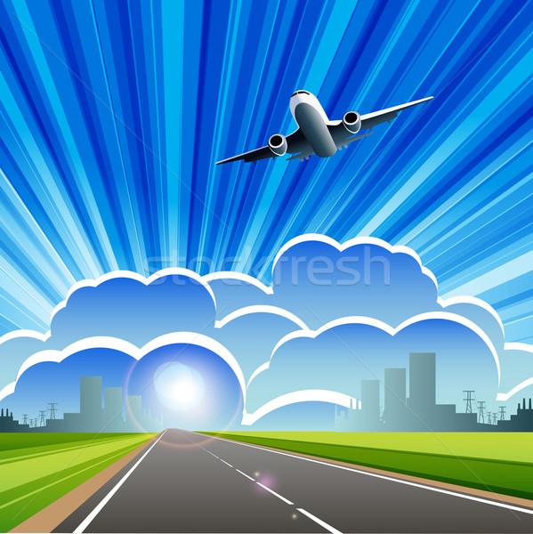 Aviação ilustração avião nuvem blue sky mapa Foto stock © brux