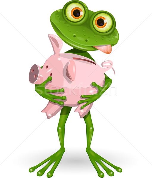 Stok fotoğraf: Kurbağa · kumbara · örnek · neşeli · yeşil · para